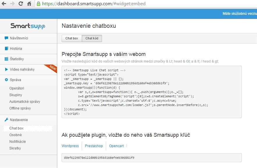 smartsupp vlozit skript kod do eshopu na stranku eshopovac