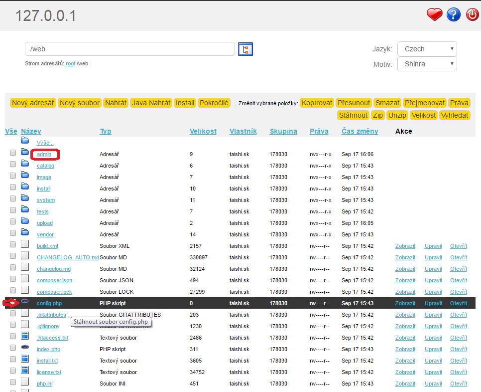 premenovanie suboru config-dist.php na config.php opencart instalacia