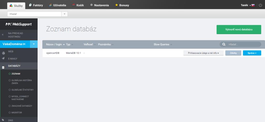 vytvorenie databazy pre opencart websupport administracia
