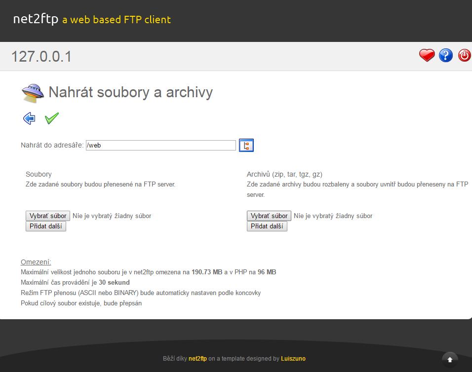 websupport nahravanie zip suboru opencart instalacia